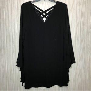 Loveriche Black Bell Long Sleeve Dress
